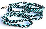Viva Nature Handgemachtes Hunde-Halsband MIT Leine im Set/verstellbar 35-42 cm \ Paracord-PP-Flechtleine/Geflochten / Hund (Türkis Schwarz)