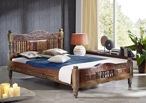 MASSIVMOEBEL24.DE Altholz lackiert Mehrfarbig Massivholz Bett 140x200 Massivmöbel Vintage massiv...