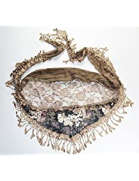 Luxury Lace edge Triangle Flower scarves Coffee