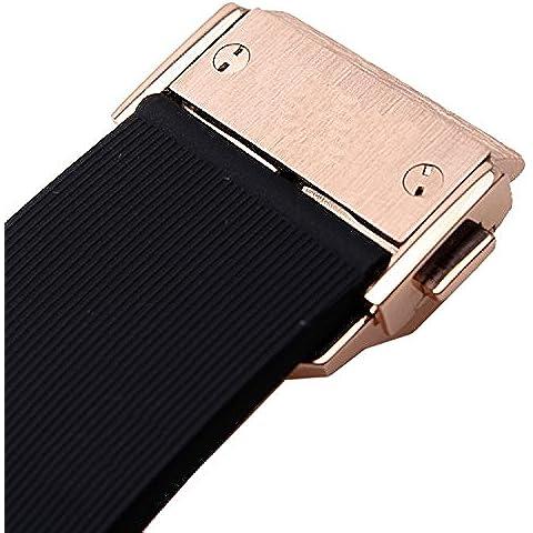 Nueva línea de 25mm negro goma correa de reloj rosa oro cierre para Hublot Big Bang