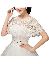 Bridal _ Mall Mujer Punta Cape para vestido de novia Toalla capa Rojo Marfil
