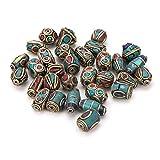 PandaHall Messing mit Koralle und Türkis tibetischen Stil Perlen