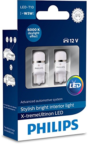 Philips 12799I60X2 X-tremeUltinon LED éclairage intérieur Voiture W5W T10 6000K 12V, Set de 2