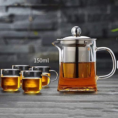 Cxmm Bubble Teekanne Glas Teekanne Hochtemperaturfilter verdicktes Glas Tee Teekanne Budget (500 ml Teekanne + 4 Tassen) -