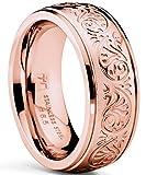 Ultimate Metals Co. Damen rosegold edelstahl ehering. Damen rosegold verlobungsring mit florentine design. Größe 61