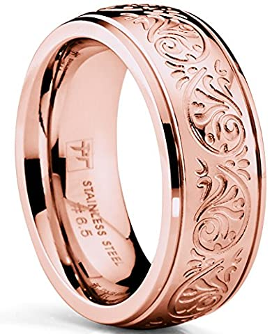 Rose Gold Pink Women's Stainless Steel Ring Wedding Band with Engraved Florentine Design 7mm Q