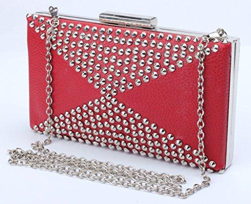 Good Night Tracolla in pelle donne borsa dell'unità di elaborazione rettangolo sacchetto di sera con Rivetto Rosso