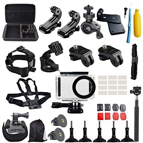 Flycoo - Set di 50: accessori per Xiaomi Mijia 4K, fotocamera, custodia impermeabile, asta per selfie, borsa base fissaggio a tracolla per nuoto sci canottaggio arrampicata ciclismo campeggio