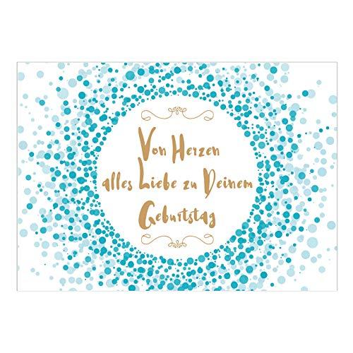 Große XL Design Glückwunsch-Karte zum Geburtstag mit Umschlag / A5 / Türkis Konfetti mit Spruch/Geburtstagskarte / Grußkarte