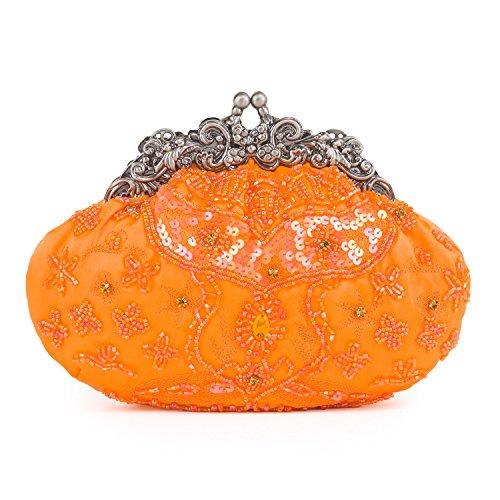 Farfalla Satin Beaded Frame Bag, SB90452-Orange, arancione Orange