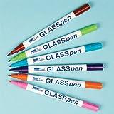 Baker Ross HobbyLine Glasmalstifte mit feiner Spitze (orange, hellgrün, hellblau, rosa, braun, indigo) für Kinder zum