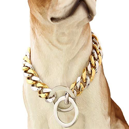 DINGG Breite 15mm Haustier Hundekragen 316L zu Stahl Edelstahl Gold Silber,24inches