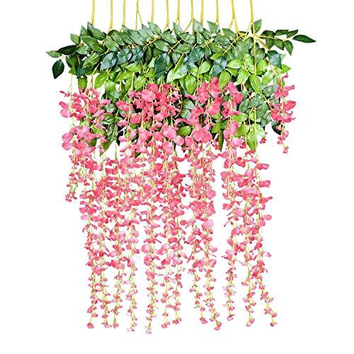 TianranRT 12 Pack Gefälschte Glyzinien Hängen Garland Seide Blumen String Startseite Party Hochzeit Dekor (B) (Oval-speicher-körbe)