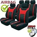 Akhan SB202 - Qualität Auto Sitzbezug Sitzbezüge Schonbezüge Schonbezug mit Seitenairbag Schwarz / Rot