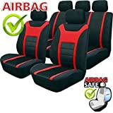 SB202 - Cubierta de asiento de coche, Protector Asiento de coche, Fundas para asientos de coche con airbag lateral NEGRO/ROJO
