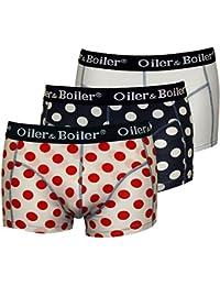 Oiler & Boiler 3-Pack Polka Dot Men's Boxer Trunks, White/Navy
