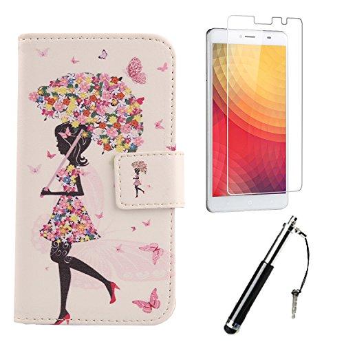 Lankashi 3in1 Set Umbrella Girl PU Flip Leder Tasche Für Doogee Y6 Max 6.5