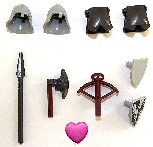 LEGO® - Ritter Zubehör - Helme Schilder Rüstung Axt Speer Armbrust Herz