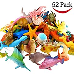 Idea Regalo - FUNCORN TOYS Animali Marini, Confezione di 52 Mini Animali Giocattolo Assortiti in Plastica, Aspetto Realistico, Perfetti come Gioco per Bagnetto, Gioco Educativo, Decorazioni per Cupcake
