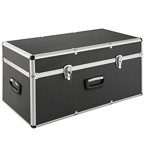 Arebos Transportkoffer/Aluminiumkoffer / 100L / XL XXL/Mit 3 Tragegriffen/Schwarzer ABS Korpus/Koffer Abschließbar - Schwarze Abgerundete Metall-rahmen
