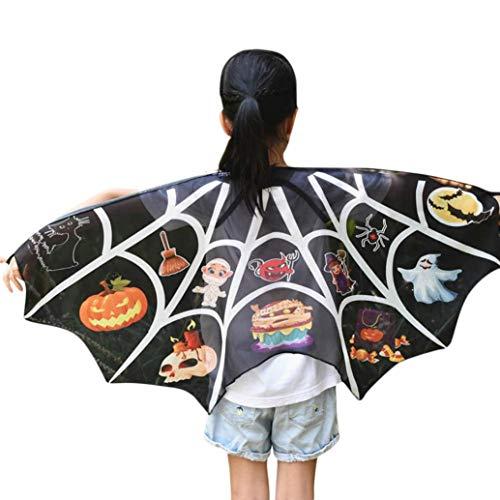 (QinMM Halloween Robe Kinder Cartoon Print Flügel Schal Schals Poncho Kostüm Zubehör Mehrfarbig (Schwarz))