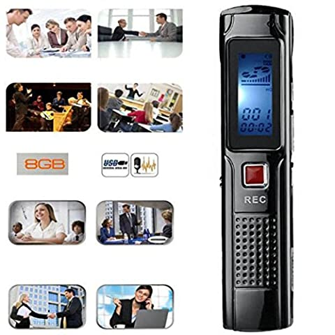 Hansee Mini Voice Recorder, 8GB Stereo Recording Digital MP3 Player, Audio Recorder, 8 Hours