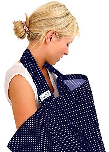 BébéChic * 100% Coton de qualité supérieure * Couvertures d'allaitement * Vêtements d'allaitement avec armatures - avec sac de rangement - marine / pois blancs