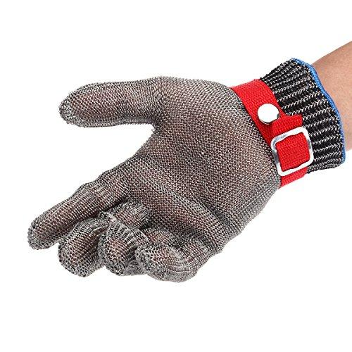 ROSENICE 1PCS Anti-Cut Proof Stabbeständige Arbeitshandschuhe - Sicherheit Metal Button Edelstahl Cutters Handschuhe Draht Butcher Handschuh mit hoher Leistung, Level 5 Schutz