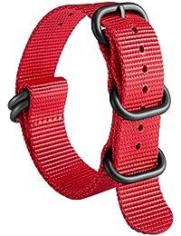 NATO Zulu Correa de Reloj G10 Premium Nylon Balístico Reemplazo de Reloj para Hombre 18mm 19mm 20mm 21mm 22mm 23mm 24mm con Servicio Pesado 5 Anillos Hebilla de Acero Inoxidable