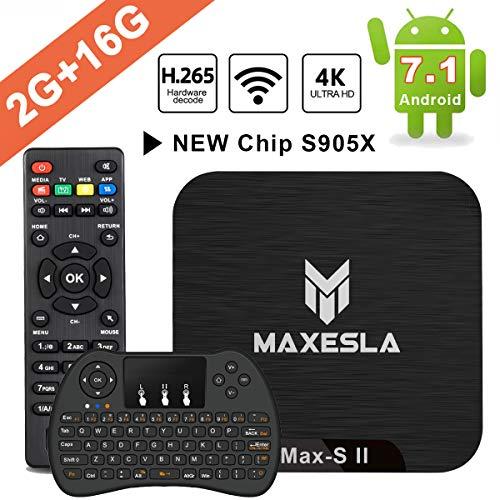 Smart TV Box Android 7.1 - Maxesla MAX-S II Mini TV Box 2 GB RAM + 16 GB ROM, 2019 neueste CPU Amlogic S905X, WLAN 2,4 GHz, Dual USB, H.265, HDMI & AV, 4K UHD TV Box mit drahtloser Mini-Tastatur