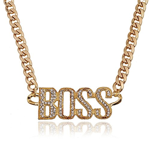 BABO Lude Macho Prolethen Hiphop Rapper Kette Necklace BOSS Strass Bling - 90er Jahre Hip Hop Party Kostüm