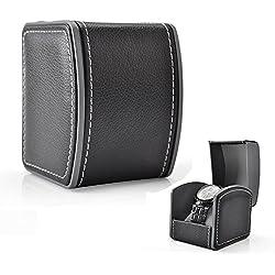 Gossipboy, pulsera de piel con caja de regalo de 10x 8,5x 7,5cm (cojín gris incluido), piel sintética, negro, negro