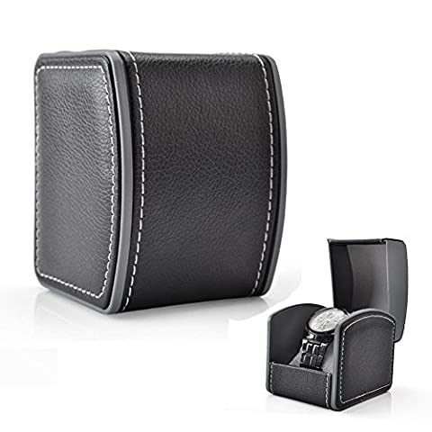 GossipBoy Luxury Single Leather Gift Jewellery Bracelets Bangles Box Watch Wristwatch Case Gift Box 10 x 8.5 x 7.5 cm (Grey Cushion Included) - Black