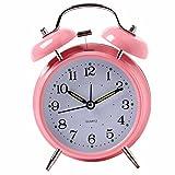 Cunclock La campana di allarme anello orologio con Super creativo Lazy Night Light Twin Bell 'Mute Radiosveglia grandi Beige batteria invia