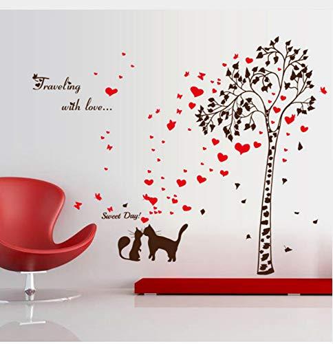 DIY Wandaufkleber 3D PVC Kreative Baum Katze Liebe Wohnzimmer Schlafzimmer Badezimmer Dekor Wandbild Selbstklebende Abnehmbare Umweltfreundliche Wandaufkleber Abziehbilder