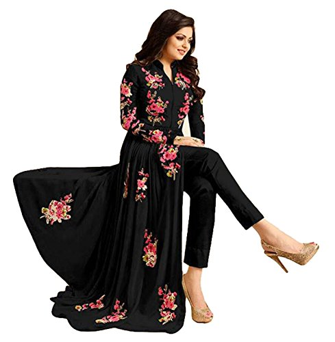 Justkartit Women's Stylish New Georgette Anarkali Style Floral Embroidery Suits 2018