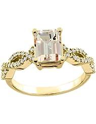 14ct blanco/oro amarillo/oro amarillo Natural anillo de 8 x 6 mm colgantes charreria acento de diamante 0,79 cm de ancho, de tallas J - T