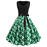 IZHH St. Patrick's Day Damen Kleider Frauen Klee Kleeblatt Mit Herz V-Ausschnitt Mode äRmellose Abenddruck GrüN Klee Print Party Prom Club Schwingen Dress GrüNes Klee-Retro Kleid(Grün-6,Medium)