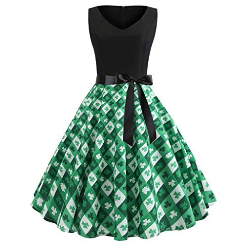 DEELIN St. Patrick's Day Damen Shamrock Abend Print Party Prom Swing Dress Rocky Langer Rock Damen Sommer Leprechaun Kostüm Saint Patricks (Rocky Baby Kostüm)