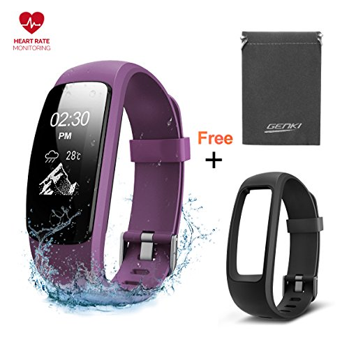 Fitness Tracker GENKI Heart Rate Monitor Smart Watch Activity Tracker Free Band IP67 Waterproof 14 Exercise Modes Sleep Monitor Wristband GPS Route Tracking Step Counter Mulit Touch Fast Swift Screen