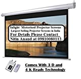 #7: Inlight Imported Motorised Projector Screen, Size: - 9x5 Ft., 16:9 FORMAT(IMPORTED A+++++ FABRIC, BLACK COATED FROM BACK SIDE)