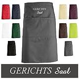 """'schno Schi hochwertig ricamato Grembiule da cucina, grembiule grembiule in grigio scuro, con """"Corte Saal ricamato"""