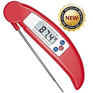 AcenX(TM) Cooking Thermometer Best Digital Thermometer Electronic Barbecue Meat Thermometer for Kitchen Cooking Food, Grill, BBQ, Poultry and Candy with Collapsible Internal Probe(Red)