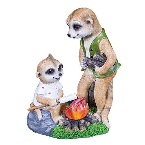 "Image of GardenKraft 20780 ""Campfire Papa and Baby Ollie Meerkats Solar Light"" Decorative Garden Ornament"