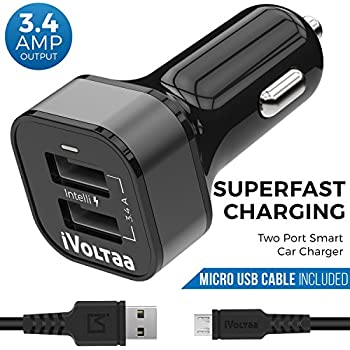 iVoltaa 3.4A Dual Port Car Charger with Micro USB Cable - Black
