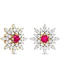 PC Jeweller The Auley 22KT Yellow Gold and Gemstone Earring for Women