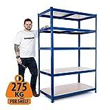 Garage Regal / Stahlregal 275 kg pro Regal (5 Stufen 1800 mm H x 1200 mm B x 450 mm D)