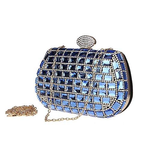 KAXIDY Luxus Damen Abendtasche Handtasche Unterarmtasche Damentasche Strass Handtasche Diamanten Blau