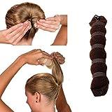 TININNA Magic Hair Styling Maker Tool Ciambella per Chignon Accessori per Capelli Elastico Bande di Ponytail Chignon per Donne(1 Grandi,caffè)