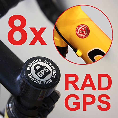 8 x Cilindro de GPS Inside Pegatinas bicicleta Seguridad Bike Finder Tracker Bike Secure bicicleta de montaña Bicycle Tracker antirrobo Anti Theft Juego Warning